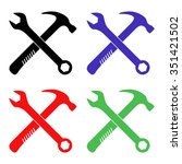 crossed wrench and hammer... | Shutterstock .eps vector #351421502