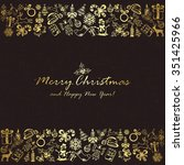golden christmas elements on... | Shutterstock .eps vector #351425966