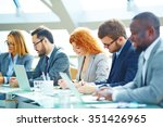 young businesspeople making... | Shutterstock . vector #351426965