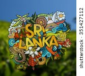 sri lanka hand lettering and... | Shutterstock .eps vector #351427112