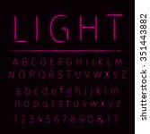 alphabet of pink lights on dark ... | Shutterstock .eps vector #351443882