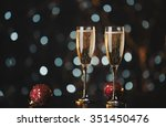 holiday champagne glasses with... | Shutterstock . vector #351450476