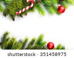 christmas tree branch with red... | Shutterstock . vector #351458975