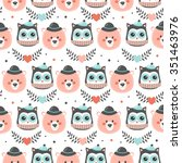 pattern with animals for baby...   Shutterstock .eps vector #351463976