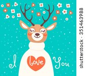 valentine card with  deer and ... | Shutterstock .eps vector #351463988