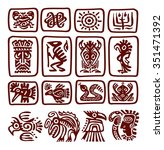 a set of totemic icons   Shutterstock .eps vector #351471392