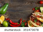 fresh delicious mexican tacos... | Shutterstock . vector #351473078