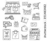 shopping and retail icons in