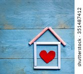 house made of chalk with red... | Shutterstock . vector #351487412