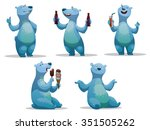 set of funny cartoon polar bear....