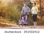 beautiful young family with... | Shutterstock . vector #351532412