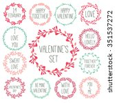 set of valentine's elements.  | Shutterstock .eps vector #351537272