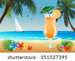 beach drink | Shutterstock .eps vector #351537395