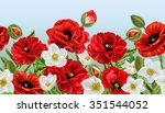 Horizontal Floral Border Red...
