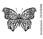 black silhouette of butterfly...   Shutterstock .eps vector #351548588