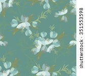 floral crocus retro vintage... | Shutterstock .eps vector #351553598
