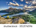 mountain top views overlooking...   Shutterstock . vector #351576596