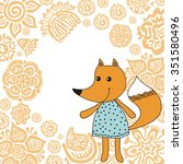 beautiful fox cute cartoon... | Shutterstock .eps vector #351580496