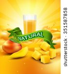 background with mango  a glass ... | Shutterstock . vector #351587858