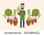 Flat Bearded Florist. Colorful...