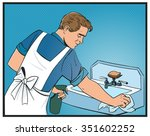man cleans sink pop art vector... | Shutterstock .eps vector #351602252