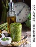jar with homemade pesto sauce... | Shutterstock . vector #351604202