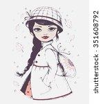 hand drawn girl  vector girl...   Shutterstock .eps vector #351608792