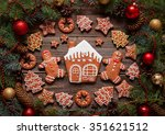 gingerbread man and woman...   Shutterstock . vector #351621512