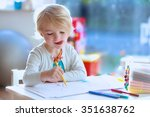 cute little child  blonde... | Shutterstock . vector #351638762
