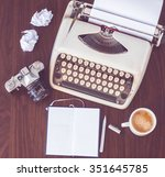 old typewriter on old wooden... | Shutterstock . vector #351645785