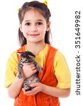 Stock photo little girl with kitty in hands isolated on white 351649982