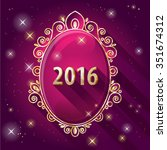2016 new year banner. vintage... | Shutterstock .eps vector #351674312