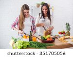 gorgeous young women preparing... | Shutterstock . vector #351705056