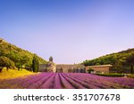 abbey of senanque and blooming... | Shutterstock . vector #351707678