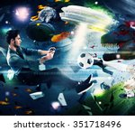 teenager with joystick play... | Shutterstock . vector #351718496