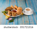 coriander vada or kothimbir...   Shutterstock . vector #351721316