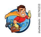 superhero handyman  | Shutterstock .eps vector #351741212