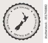 new zealand. hipster round... | Shutterstock .eps vector #351743882