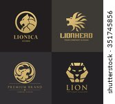 Lion Logo Set Animal Logo...