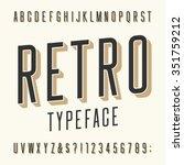 retro typeface. letters ... | Shutterstock .eps vector #351759212