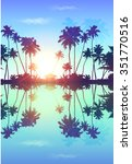 Blue Sky Palms Silhouettes Wit...