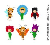 kids in fancy insect and flower ... | Shutterstock . vector #351777572