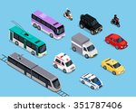 isometric 3d transport set flat ... | Shutterstock .eps vector #351787406