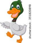 cute baby duck waving hand   Shutterstock . vector #351820898