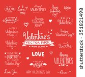 happy valentine's day hand... | Shutterstock .eps vector #351821498