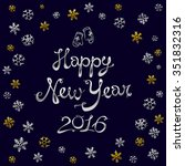 vintage happy new year gold...   Shutterstock .eps vector #351832316