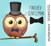 greeting card cute cartoon owl... | Shutterstock .eps vector #351842522