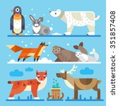 Stock vector nice north and arctic animals and birds imperial penguin hare polar white bear fox seals lynx 351857408