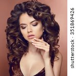 healthy hair. manicure.... | Shutterstock . vector #351869426
