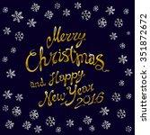 golden glowing merry christmas... | Shutterstock . vector #351872672